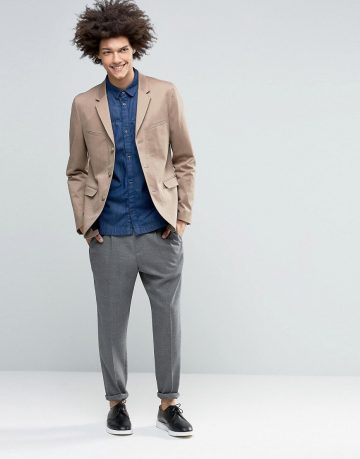 ASOS Skinny Blazer in Washed Cotton in Stone