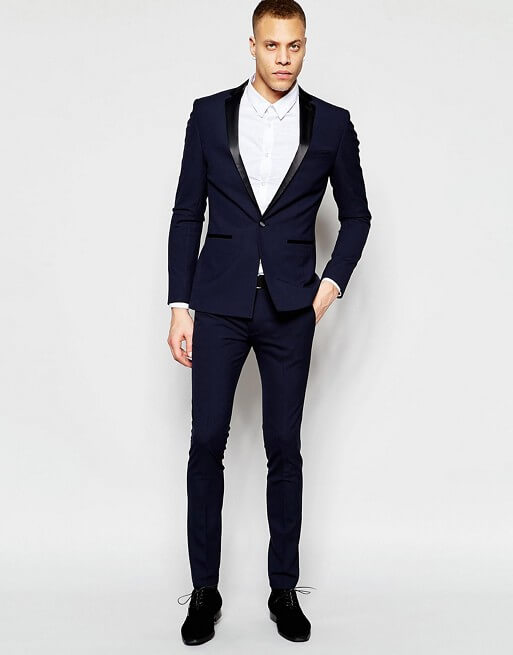 Super Skinny Tuxedo Suit In Navy – ShopKeeper
