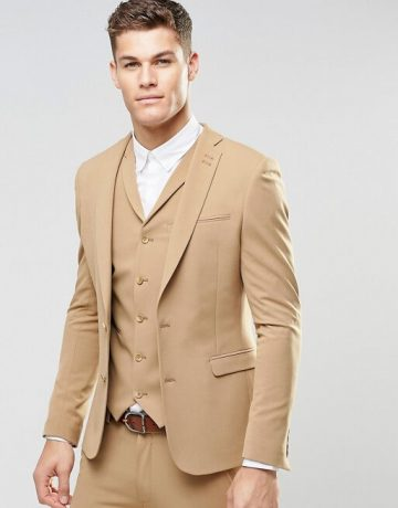 Super Skinny Fit Suits In Camel