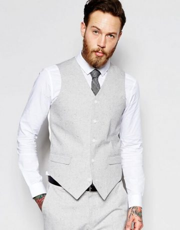 Slim Suit In Grey Nepp Fabric
