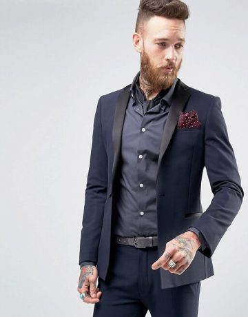 Super Skinny Fit Tuxedo In Navy Blue