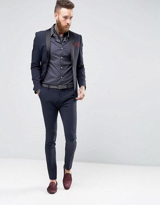 Super Skinny Fit Tuxedo In Navy Blue Shopkeeper